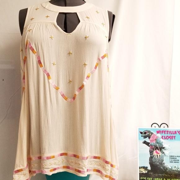 LC Lauren Conrad Tops - Lauren Conrad Lg Hi Low Embroidered No Sleeve Top